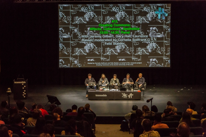 Jeremy Gilbert, Cornelia Sollfrank, Laurence Rassel, Felix Stalder, and Gary Hall (left to right) at the panel Creating Commons: Affects, Collectives, Aesthetics