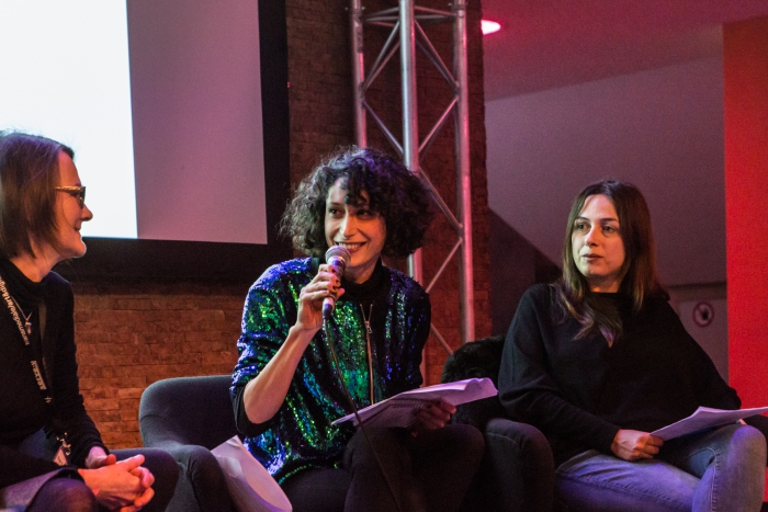 Yvonne Volkart, Isabel de Sena, and Christina Grammatikopoulou (from left to right) at Book Launch: The Beautiful Warriors. Techno-Feminist Practice in the 21st Century