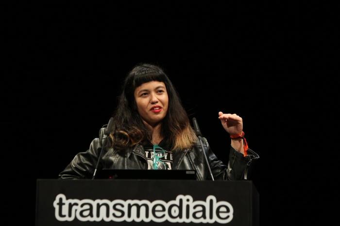 Jackie Wang during her keynote Carceral Temporalities and the Politics of Dreaming at transmediale 2019