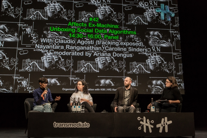 Nayantara Ranganathan, Caroline Sinders, Claudio Agosti, and Ariana Dongus during the panel Affects Ex-Machina: Unboxing Social Data Algorithms at transmediale 2019