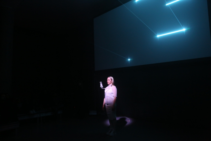 Marija Bozinovska Jones during her performance Fascia 18100619013 at transmediale 2019