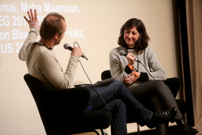Florian Wüst and Maha Maamoun during the Q&A of Breathing Solidarity