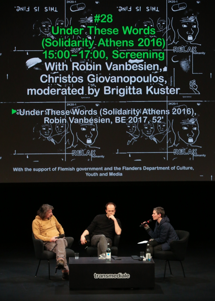 Christos Giovanopoulos, Robin Vanbesien and Brigitta Kuster during the Q&A of Under These Words (Solidarity Athens 2016)